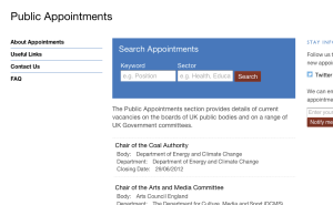 Preview of prototype Public Appointments website