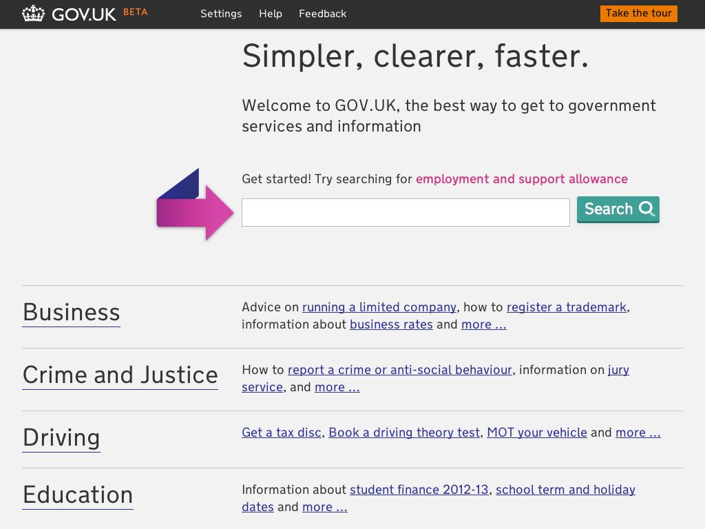 Screenshot of the latest homepage design