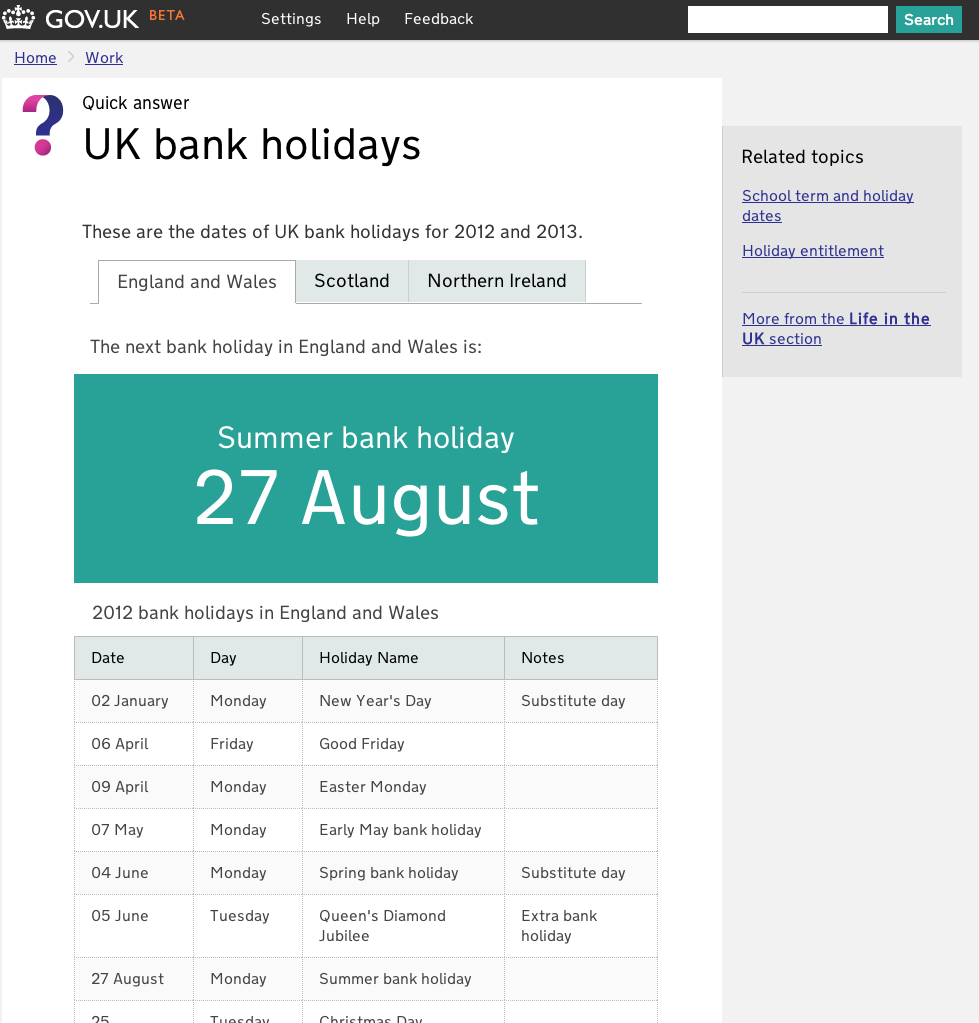 Bank Holiday story - is it really simpler, clearer, faster? - Government  Digital Service