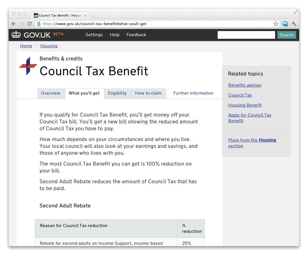 Screenshot of how navigation looked in Council Tax Benefit before the change (tabs across the top of the main column of content)