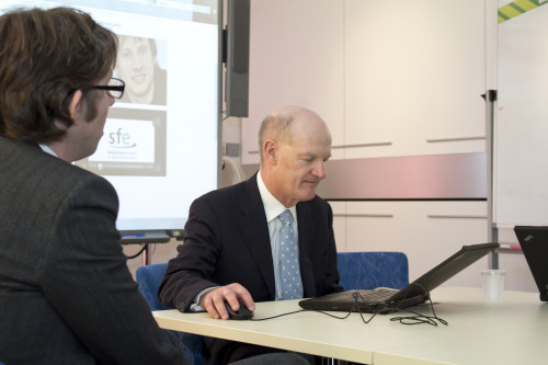 David Willetts MP testing the student loans application