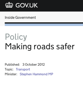 Screenshot of 'Making roads safer' policy section