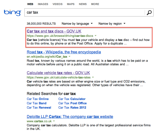 Screen Shot of how GOV.UK ranks in Bing for car tax