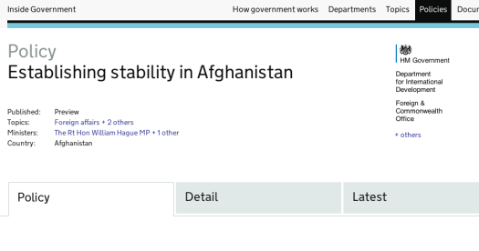 Government policy on establishing stability in Afghanistan