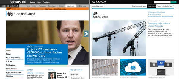 Cabinet Office homepage a year ago and today