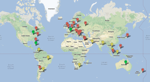 Map of International Visitors to GDS