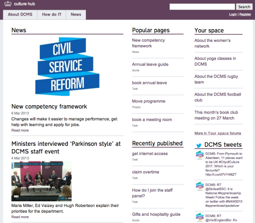 Homepage of the new DCMS intranet