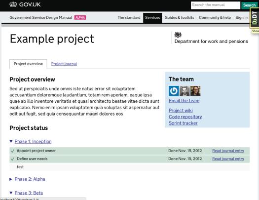 Screen shot of example project page