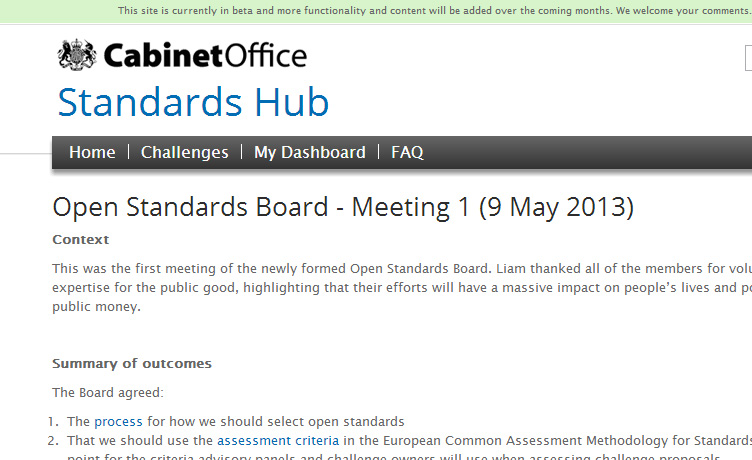Standards Hub screenshot