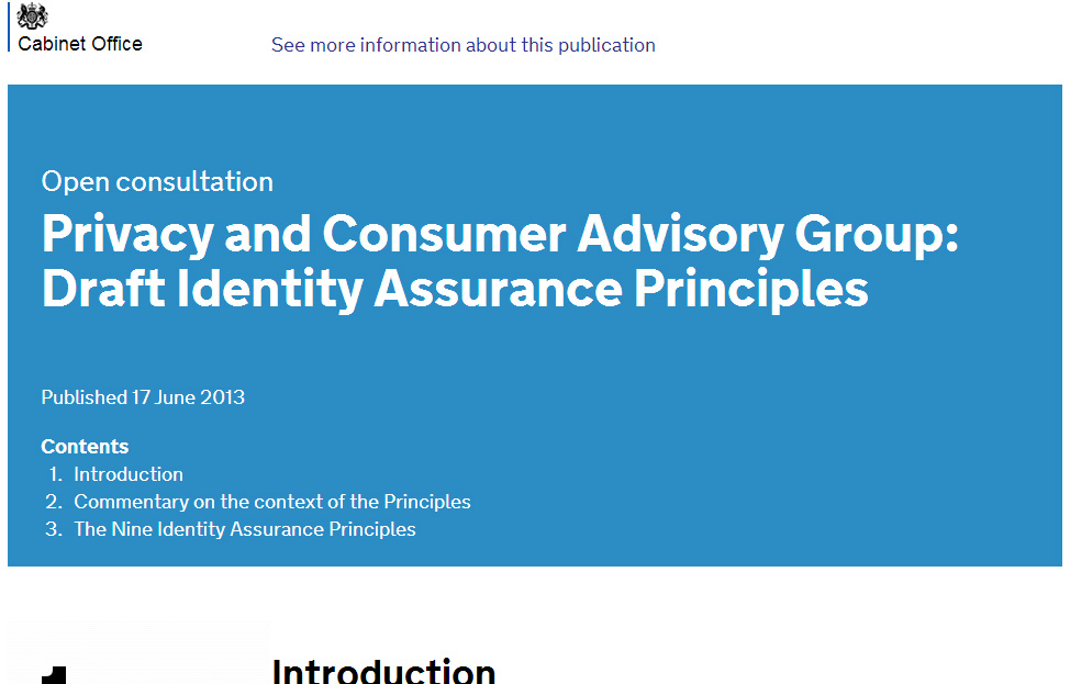 Screenshot of ID Assurance Principles consultation