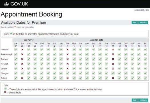 Screen shot of the current appointment booking page
