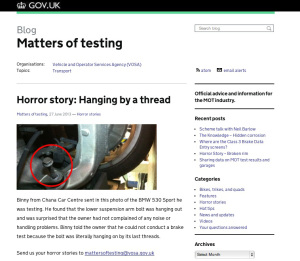 VOSA's Matters of Testing blog on GOV.UK