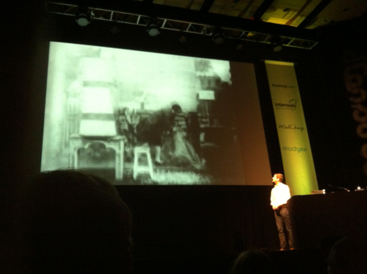 Dan Williams shows a clip from a George Méliès film at dConstruct