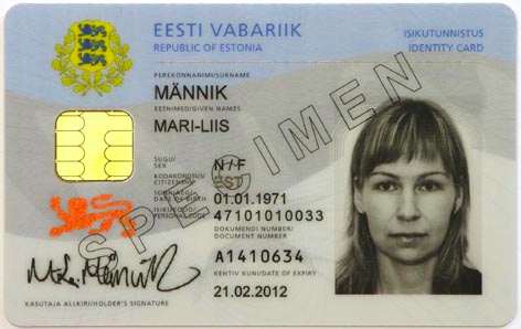 Estonian ID card specimen