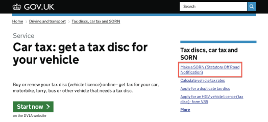 Car tax and SORN on GOV.UK