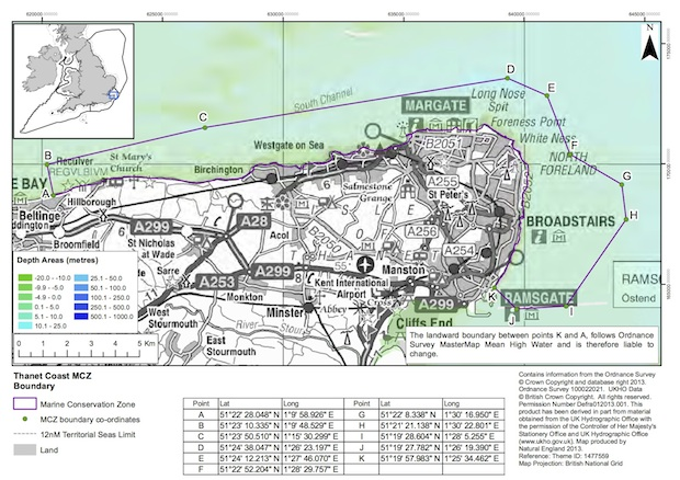 A map showing the marine conservation zone 2013 designation: Thanet Coast