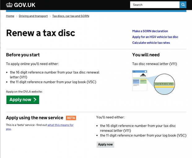 Screen Grab of new tax disc start page with beta link
