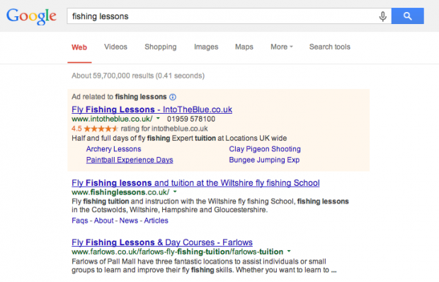 Example of google search  result and advert