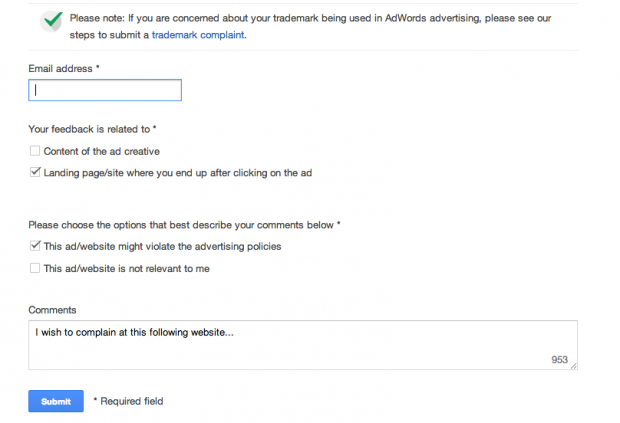 Google now offers a simple form to let you complain about misleading adverts