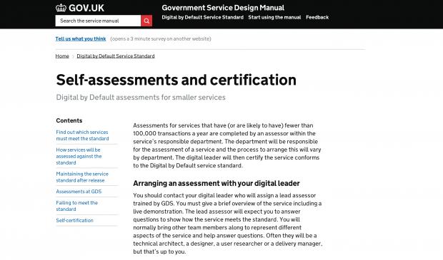 Service standard self-certification