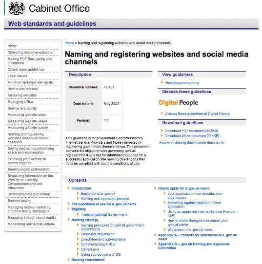 GOV.uk domain naming guidelines