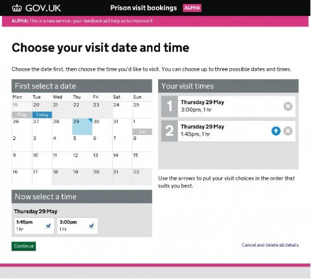Prison visit booking: using digital analytics to inform alpha development