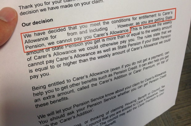 Carer's Allowance letter
