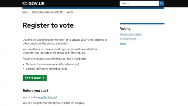 Register to vote on GOV.UK