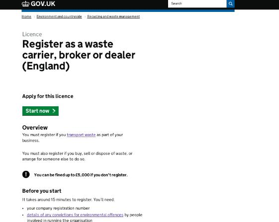 Waste carriers on GOV.UK