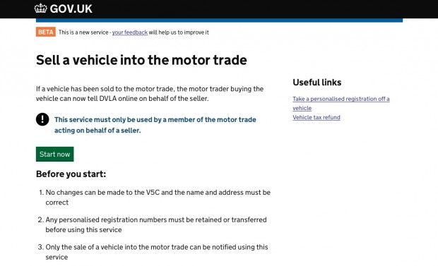 Sell a vehicle to the motor trade