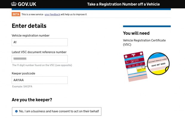 Take a registration number off a vehicle