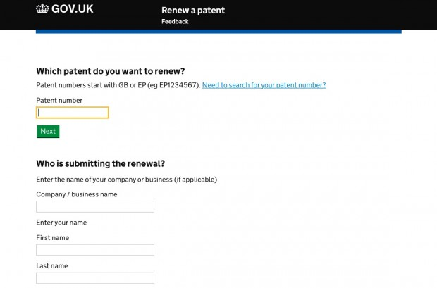 Renew patent service screenshot