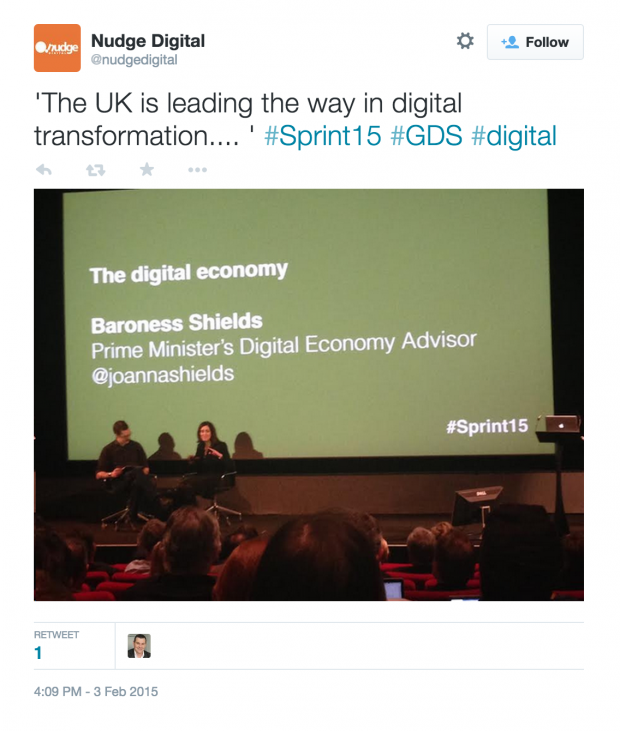 'The UK is leading the way in digital transformation.... ' #Sprint15 #GDS #digital