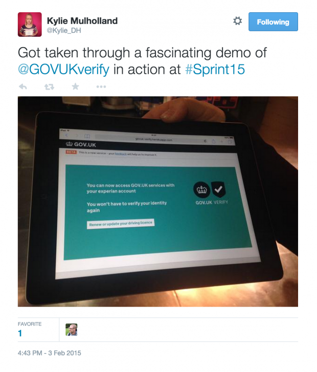 Got taken through a fascinating demo of  @GOVUKverify in action at #Sprint15