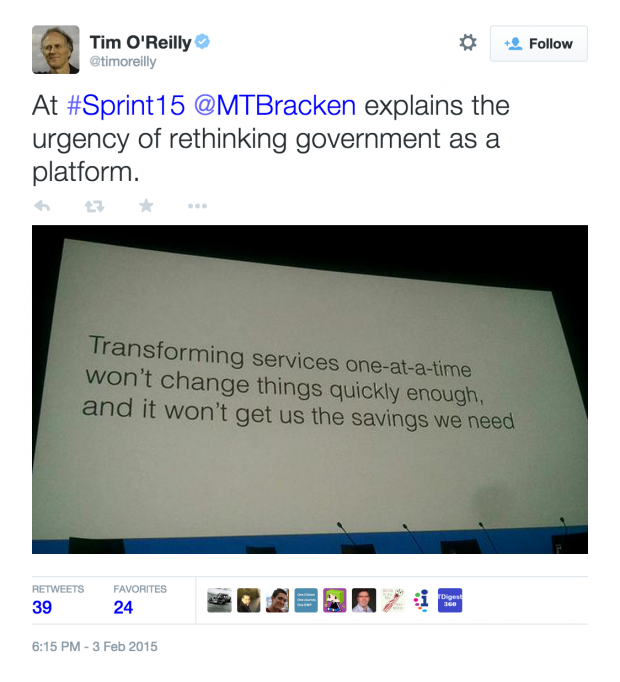 At #Sprint15 @MTBracken explains the urgency of rethinking government as a platform.