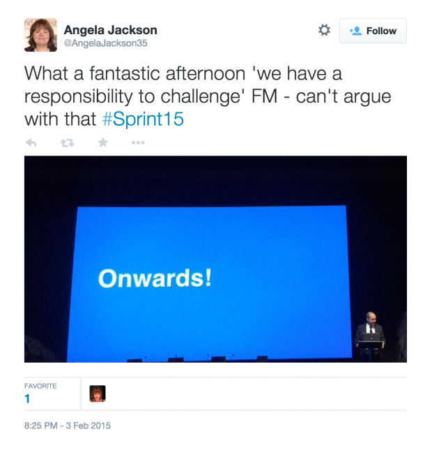 What a fantastic afternoon 'we have a responsibility to challenge' FM - can't argue with that #Sprint15