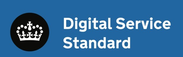 Image of crown and the words Digital Service Standard on blue background