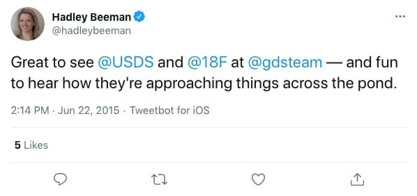hadleybeeman tweeted at 2:14 PM · Jun 22, 2015 (tweet content below)
