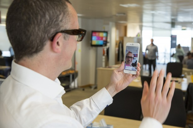 Ben Terrett using Periscope  on a mobile phone