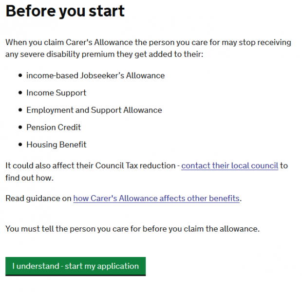 Carer's Allowance new disclaimer
