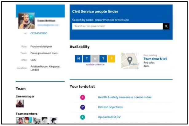 Civil service people finder screenshot