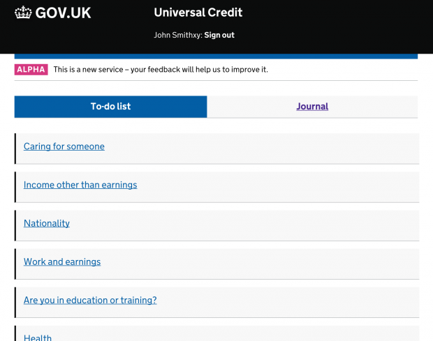 Universal Credit (DWP) screengrab