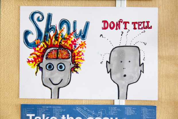 Illustration of the phrase: show don't tell