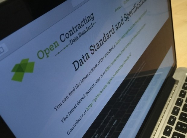 Photo of a screen showing the Open Contracting Data Standard website