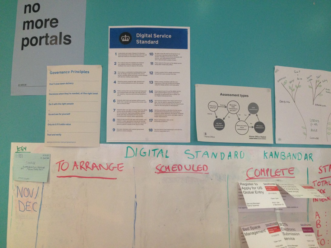 Service Standard Assessment wall