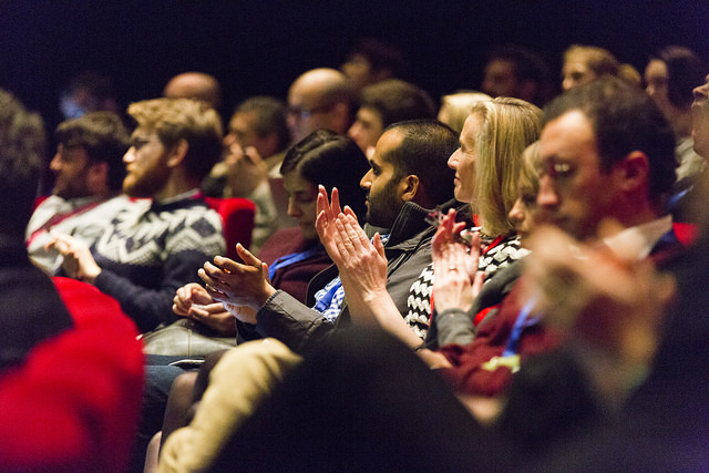 Image of audience from Sprint 15 clapping