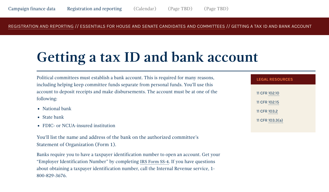 Screen Shot of the Getting a tax ID and bank account page on the US Federal Election Commission's website.