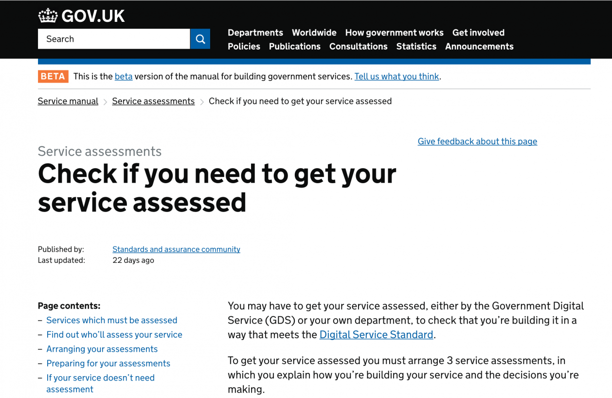Screen Shot of service assessment page on GOV.UK