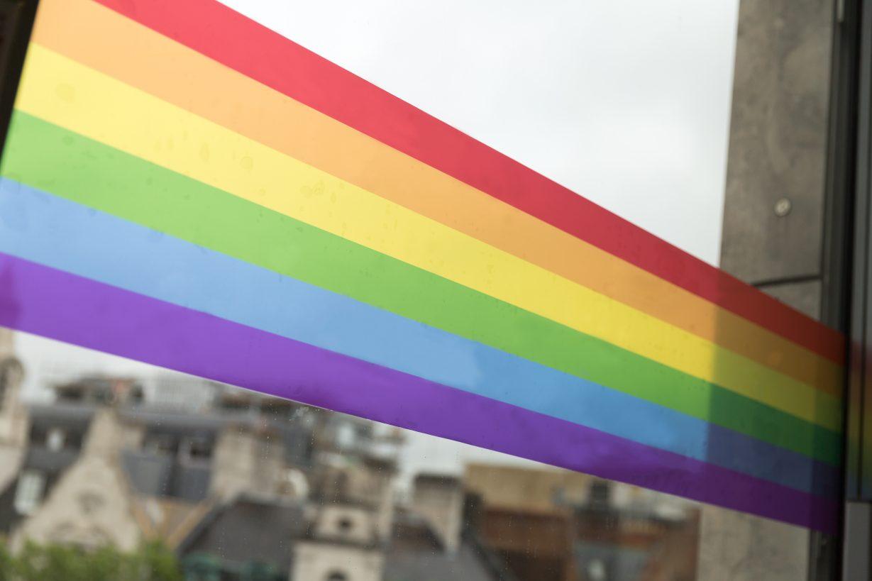 Close-up of rainbow wrap stickers on GDS windows