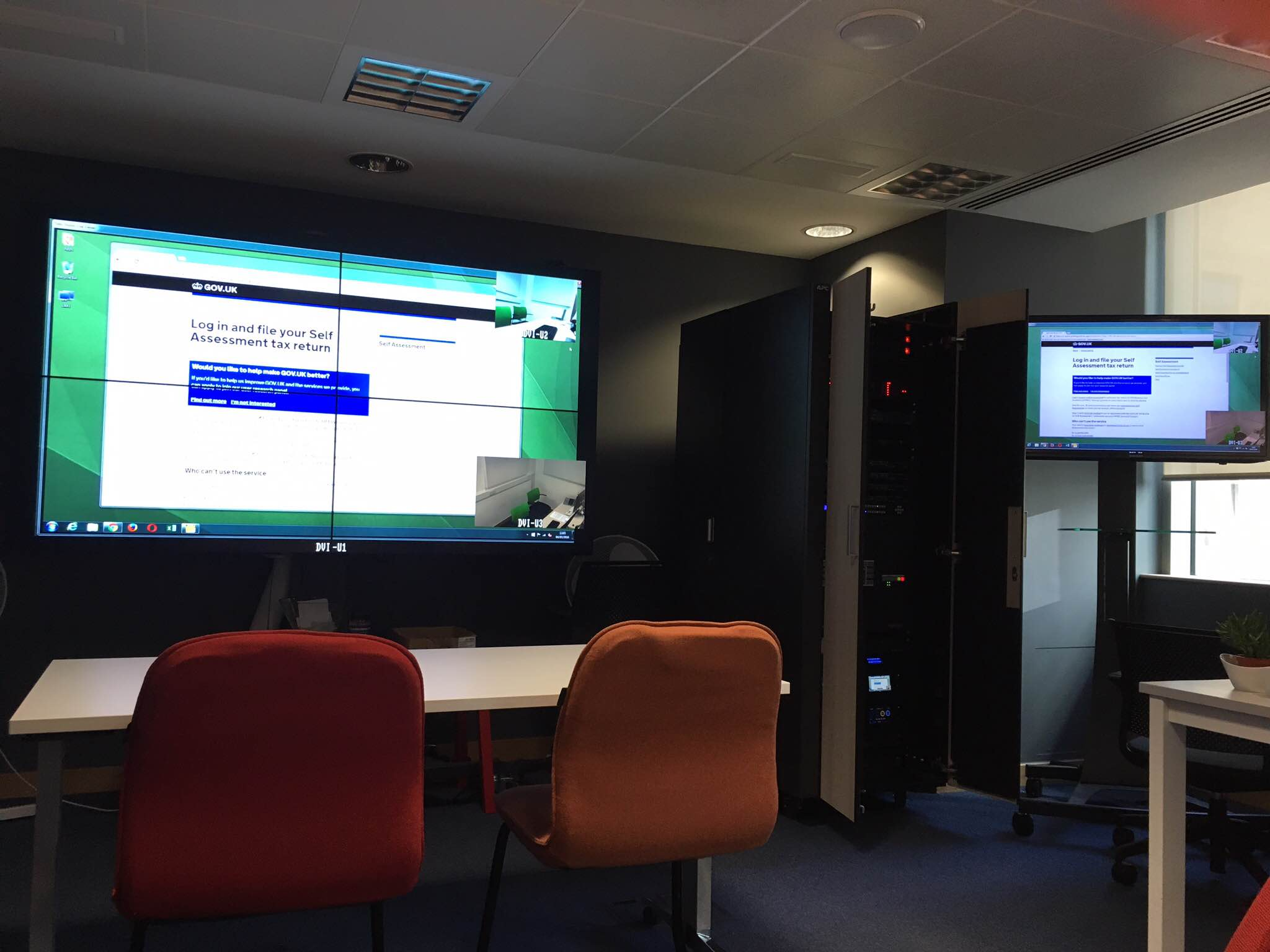 Photo of large screen in user research room displaying the self assessment tax return page on GOV.UK